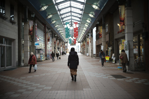 walking in the shopping area
